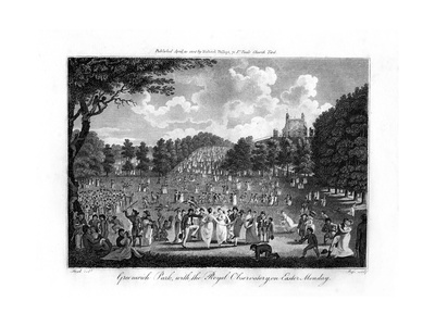 Greenwich Park, with the Royal Observatory, on Easter Monday, London, 1804 Giclee Print by Edward Pugh
