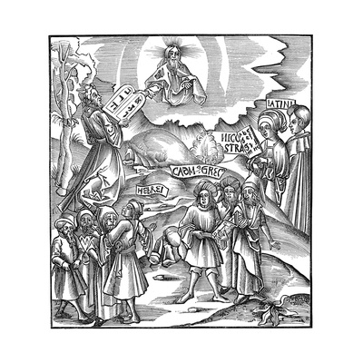 Languages: Moses Receiving from God the Tablets of the Law in Hebrew, 1512 Giclee Print