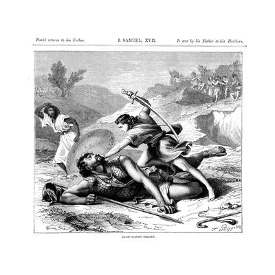 David Slaying the Philistine Giant Goliath, C1870 Giclee Print