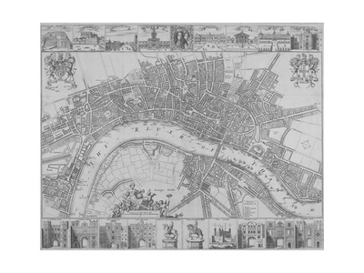 Map of the Cities of London and Westminster and Southwark, 1690 Giclee Print