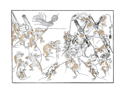 Retribution, the Rats and the Cat, 1878 Giclee Print by Kiosai Kiosai