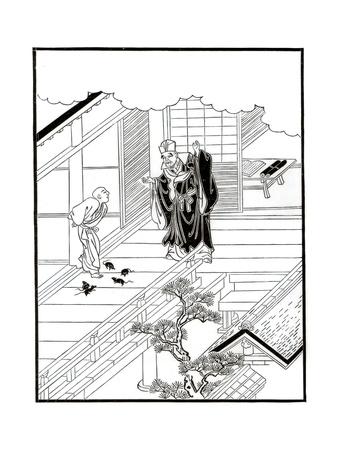 Sesshiu and the Pictured Rats, 18th Century Giclee Print by Nishikawa Sukenobu