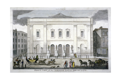 Front View of the Theatre Royal, Drury Lane, Westminster, London, 1812 Giclee Print