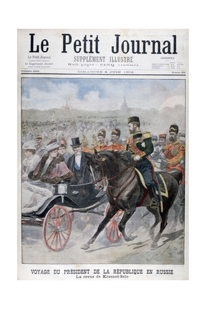 The President of the Republic of France Reviewing Troops, Krasnoye Selo, Russia, 1902 Giclee Print