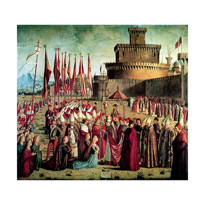 The Pilgrims are Met by Pope Cyriacus in Front of the Walls of Rome, 1497 Giclee Print