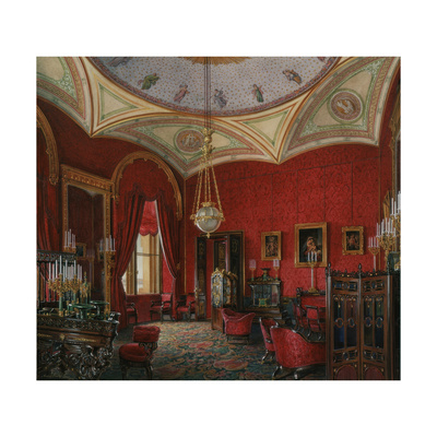 Interiors of the Winter Palace, the Study of Empress Alexandra Fyodorovna, Mid of the 19th C Giclee Print by Eduard Hau