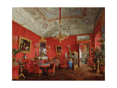 Interiors of the Winter Palace, the Large Drawing Room of Empress Alexandra Fyodorovna, 1858 Giclee Print by Eduard Hau
