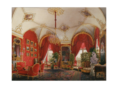 Interiors of the Winter Palace, the Fourth Reserved Apartment, the Corner Room, Mid of the 19th C Giclee Print by Eduard Hau