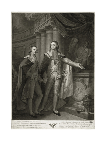 Portrait of Grand Dukes Alexander Pavlovich and Constantine Pavlovich of Russia, 1797 Giclee Print by James Walker