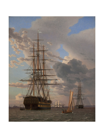 The Russian Ship of the Line Azov and a Frigate at Anchor in the Roads of Elsinore, 1828 Giclee Print by Christoffer-wilhelm Eckersberg
