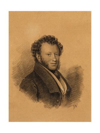 Portrait of the Author Alexander S. Pushkin (1799-183), 1827 Giclée-Druck von Joseph Vivien