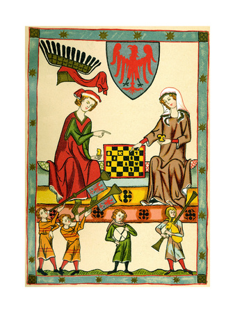 Margrave Otto IV of Brandenburg Playing Chess (From the Codex Maness), C1300 Giclee Print