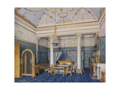 Interiors of the Winter Palace, the Bedchamber of Empress Alexandra Fyodorovna, 1870 Giclee Print by Eduard Hau