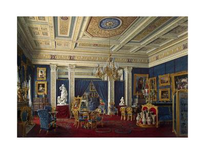 Blue Drawing-Room in the Mariinsky Palace in Saint Petersburg, Mid of the 19th C Giclee Print by Eduard Hau