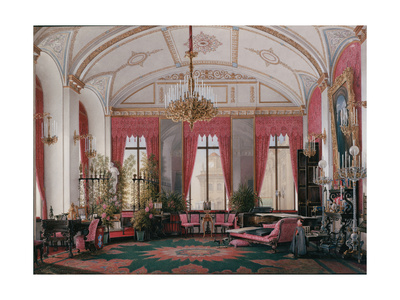 Interiors of the Winter Palace, the Raspberry Study of Empress Maria Alexandrovna, 1860S Giclee Print by Eduard Hau