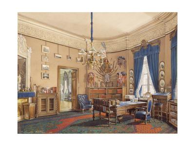 Interiors of the Winter Palace, the Study of Crown Prince Nikolay Aleksandrovich, 1865 Giclee Print by Eduard Hau