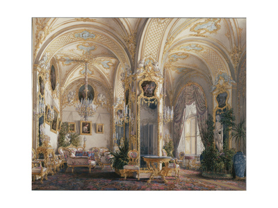 Interiors of the Winter Palace, the Drawing Room in Rococo Style with Cupids, 1860S Giclee Print by Eduard Hau