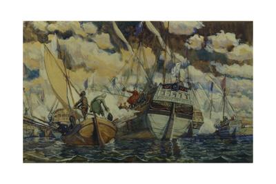 Peter I and Lefort (The Fleet of Peter I on Lake Pleshcheyev), 1927 Giclee Print by Dmitri Nikolayevich Kardovsky