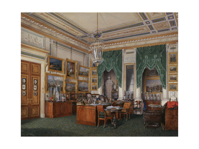 Interiors of the Winter Palace, the Study of Emperor Alexander II, 1857 Giclee Print by Eduard Hau