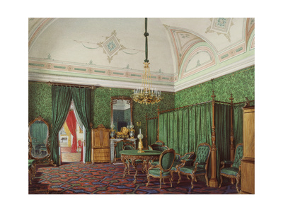 Interiors of the Winter Palace, the Third Reserved Apartment, a Bedroom, 1873 Giclee Print by Eduard Hau