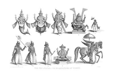 The Ten Avatars or Incarnations of Vishnu, C1880 Giclee Print