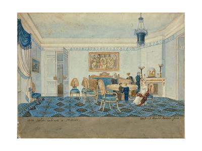 Salon Interior in the House of Zinaida Volkonskaya in Moscow, 1817 Giclee Print by Michelangelo Barberi