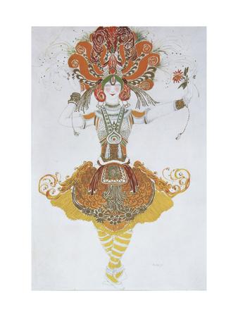 Costume Design for Tamara Karsavina in the Ballet the Firebird (L'Oiseau De Fe), 1909-1910 Giclee Print by Léon Bakst