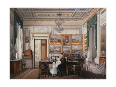 Interiors of the Winter Palace, the Study of Emperor Alexander II, 1850S Giclee Print by Eduard Hau