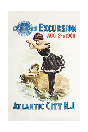 Atlantic City, N.J. Giclee Print by Bern Hill