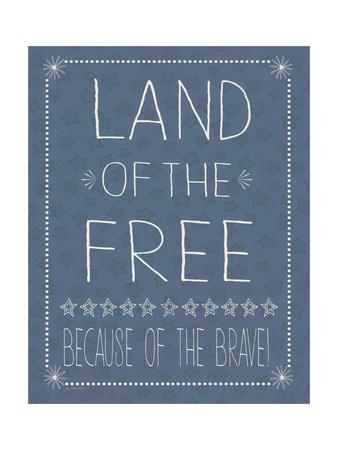 Blue Land of the Free Print by Jo Moulton