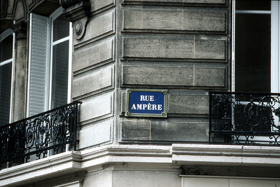 Street Sign, Rue Ampere, Paris, France Photographic Print