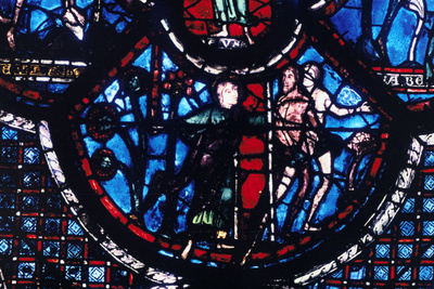 Expulsion from Eden, Stained Glass, Chartres Cathedral, France, 1205-1215 Photographic Print