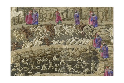 Illustration to the Divine Comedy by Dante Alighieri, 1480-1490 Giclee Print by Sandro Botticelli