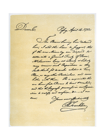 Letter from Benjamin Franklin to David Hartley Mp, 14th April 1782 Giclee Print by Benjamin Franklin