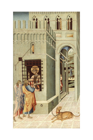 Saint John the Baptist in Prison Visited by Two Disciples, 1455-1460 Giclée-tryk af Giovanni di Paolo
