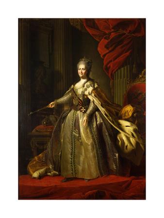Portrait of Empress Catherine II (1729-179), 1775-1780 Giclee Print by Fyodor Stepanovich Rokotov