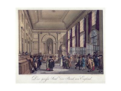 Bank of England, Threadneedle Street, London, 1808 Giclee Print by Augustus Charles Pugin