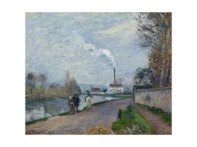 The Oise Near Pontoise in Grey Weather, 1876 Giclee Print by Camille Pissarro
