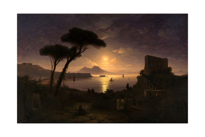 The Bay of Naples at Moonlit Night, 1842 Giclee Print by Ivan Konstantinovich Aivazovsky