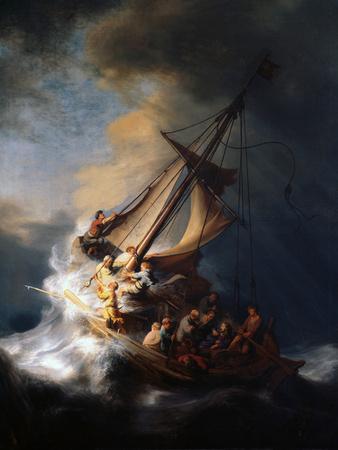Christ in the Storm on the Lake of Galilee, 1633 Giclée-tryk af  Rembrandt van Rijn