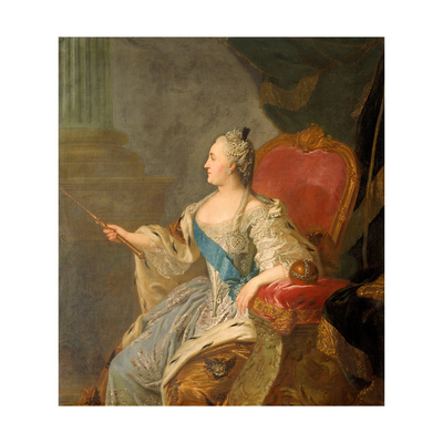 Portrait of Empress Catherine II (1729-179), 1763 Giclee Print by Fyodor Stepanovich Rokotov