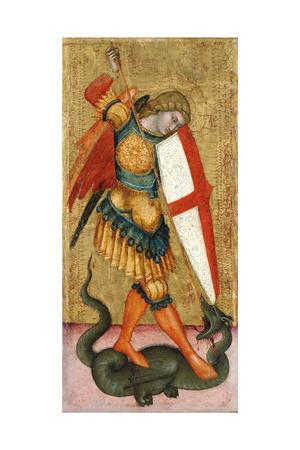 Saint Michael and the Dragon, 14th Century Giclee Print