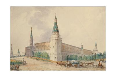 The Resurrection Square and the Alexander Garden in Moscow Giclée-Druck von Joseph Vivien