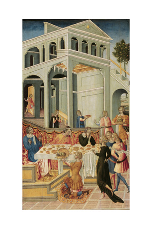 The Head of Saint John the Baptist Brought before Herod, 1455-1460 Giclée-tryk af Giovanni di Paolo