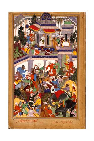 Akbar Visits the Shrine of Khwajah Mu'In Ad-Din Chishti at Ajmer, Ca 1590 Giclee Print by  Basawan