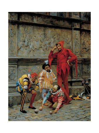 Jesters Playing Cochonnet, 1868 Giclee Print by Eduardo Zamacois y Zabala