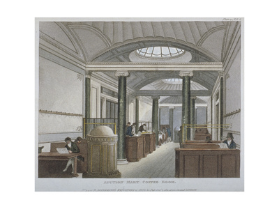 Interior View of the Coffee Room at the Auction Mart, Bartholomew Lane, City of London, 1811 Giclee Print by Augustus Charles Pugin