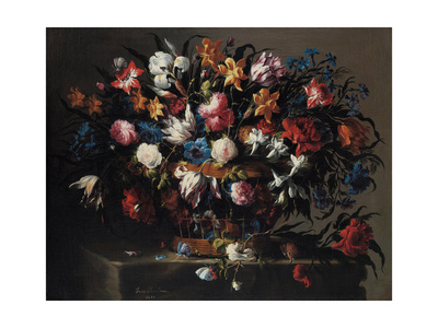 Small Basket of Flowers, 1671 Giclee Print by Juan de Arellano