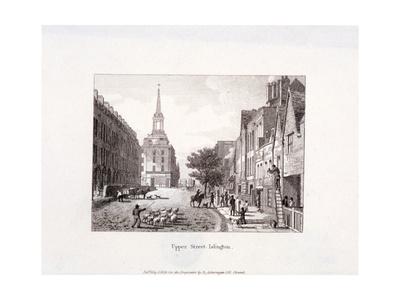 Upper Street, Islington, London, 1819 Giclee Print by Augustus Charles Pugin