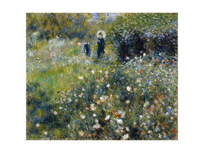 Woman with a Parasol in a Garden, 1875 Giclee Print by Pierre-Auguste Renoir